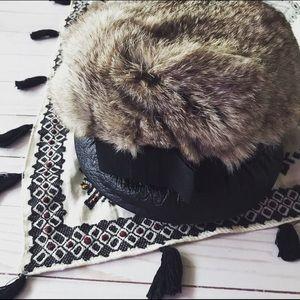 VINTAGE rabbit fur short brim leather hat